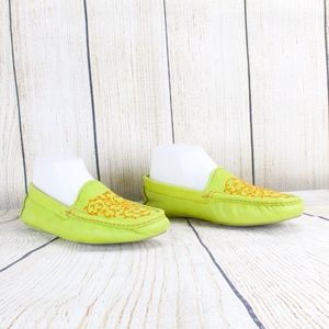 Cole Haan Home Lime Green Soft Leather Slippers 9